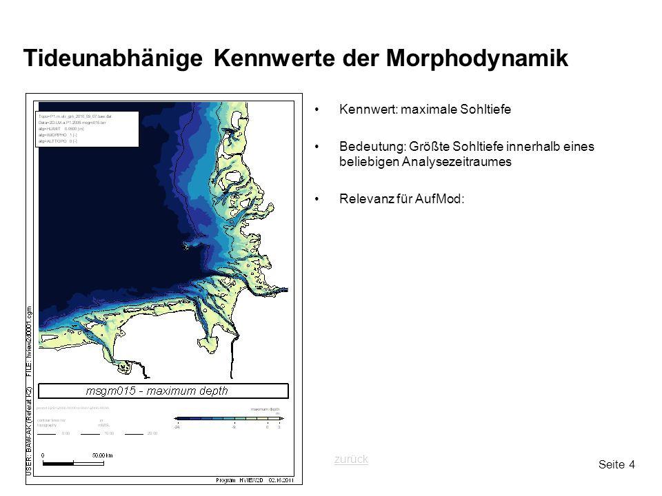 Seite 4 Tideunabhänige Kennwerte der Morphodynamik Kennwert: maximale Sohltiefe Bedeutung: Größte Sohltiefe innerhalb eines beliebigen Analysezeitraum