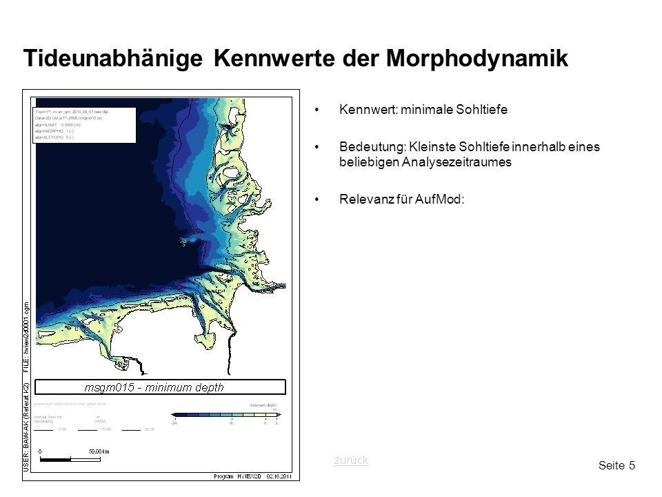Seite 5 Tideunabhänige Kennwerte der Morphodynamik Kennwert: minimale Sohltiefe Bedeutung: Kleinste Sohltiefe innerhalb eines beliebigen Analysezeitra
