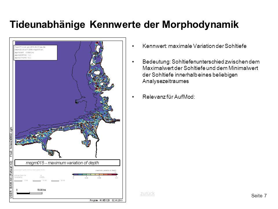 Seite 7 Tideunabhänige Kennwerte der Morphodynamik Kennwert: maximale Variation der Sohltiefe Bedeutung: Sohltiefenunterschied zwischen dem Maximalwer