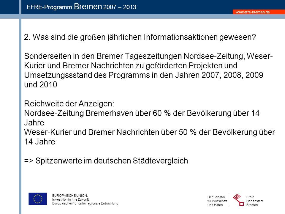 www.efre-bremen.de Freie Hansestadt Bremen Der Senator für Wirtschaft und Häfen EFRE-Programm Bremen 2007 – 2013 EUROPÄISCHE UNION: Investition in Ihre Zukunft Europäischer Fonds für regionale Entwicklung 2.