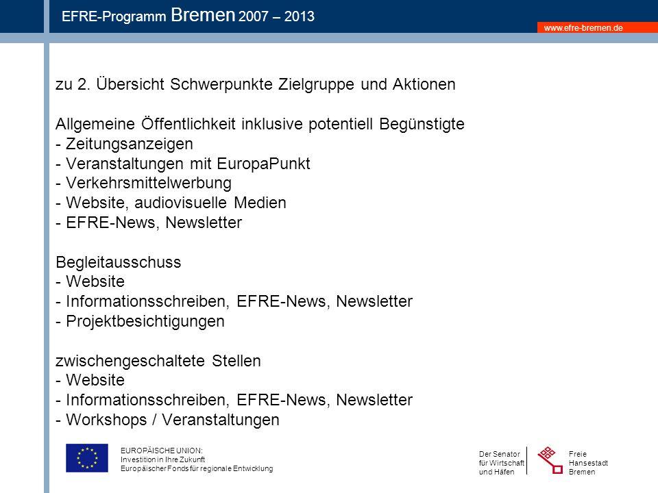 www.efre-bremen.de Freie Hansestadt Bremen Der Senator für Wirtschaft und Häfen EFRE-Programm Bremen 2007 – 2013 EUROPÄISCHE UNION: Investition in Ihre Zukunft Europäischer Fonds für regionale Entwicklung zu 2.