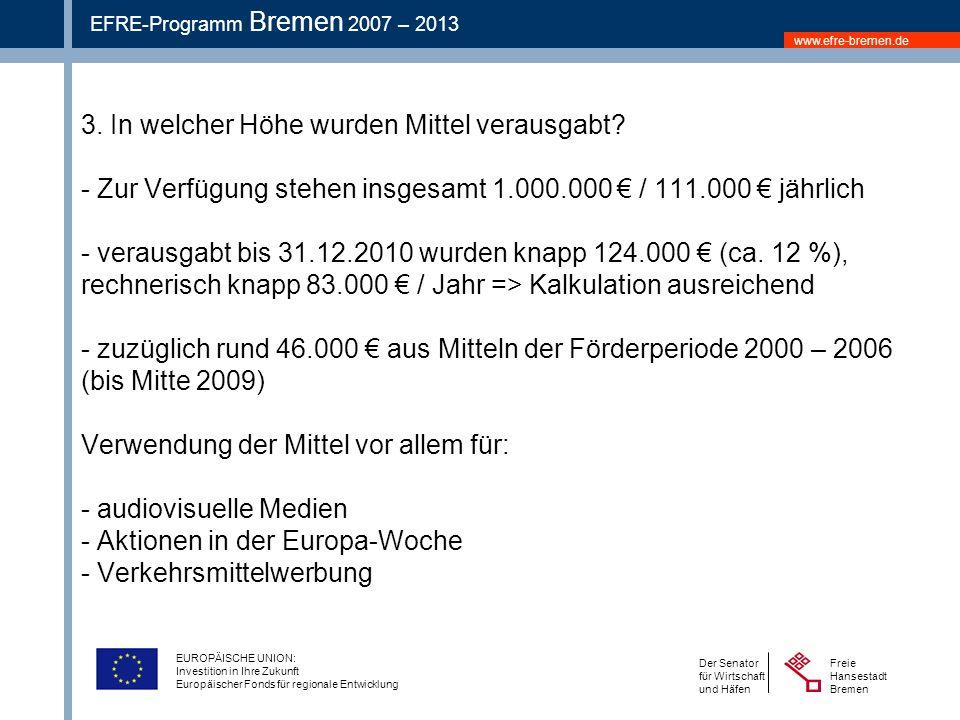 www.efre-bremen.de Freie Hansestadt Bremen Der Senator für Wirtschaft und Häfen EFRE-Programm Bremen 2007 – 2013 EUROPÄISCHE UNION: Investition in Ihre Zukunft Europäischer Fonds für regionale Entwicklung 3.