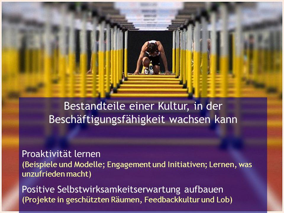 Bestandteile einer Kultur, in der Beschäftigungsfähigkeit wachsen kann Proaktivität lernen (Beispiele und Modelle; Engagement und Initiativen; Lernen, was unzufrieden macht) Positive Selbstwirksamkeitserwartung aufbauen (Projekte in geschützten Räumen, Feedbackkultur und Lob)