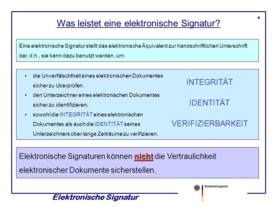 Elektronische Signatur 14 INTEGRITÄTVERIFIZIERBARKEIT Prüfung IDENTITÄT Die Vertrauenswürdigkeit von ZERTIFIKATEN wird entsprechend geprüft: SIGNATURPRÜF- SCHLÜSSEL INTEGRITÄT ZERTIFIKAT BNetzA AUSSTELLER BNetzA INTEGRITÄT ZERTIFIKAT ZDA xy AUSSTELLER BNetzA IDENTITÄT ZERTIFIKAT Unterzeichner AUSSTELLER ZDA xy Um die IDENTITÄT des ZERTIFIZIERUNGSDIENSTEANBIETERS zu prüfen, wird das ZERTIFIKAT der Bundesnetzagentur (BNetzA) verwendet.