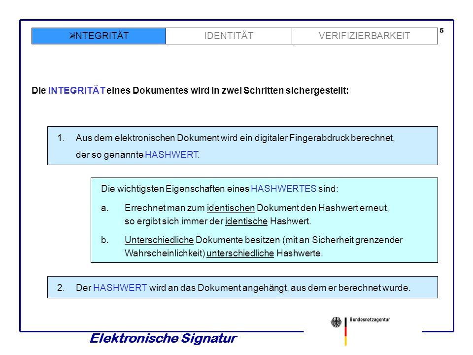 Elektronische Signatur IDENTITÄT INTEGRITÄTVERIFIZIERBARKEIT Die INTEGRITÄT eines Dokumentes wird in zwei Schritten sichergestellt: 1.Aus dem elektronischen Dokument wird ein digitaler Fingerabdruck berechnet, der so genannte HASHWERT.