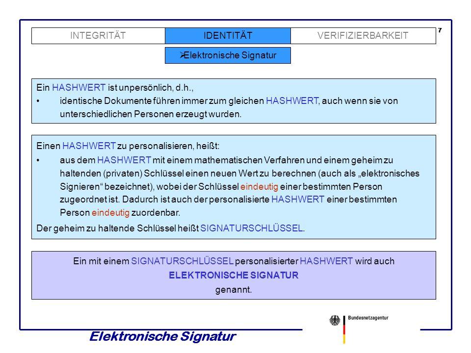 Elektronische Signatur IDENTITÄTINTEGRITÄTVERIFIZIERBARKEIT Elektronische Signatur Ein HASHWERT ist unpersönlich, d.h., identische Dokumente führen immer zum gleichen HASHWERT, auch wenn sie von unterschiedlichen Personen erzeugt wurden.