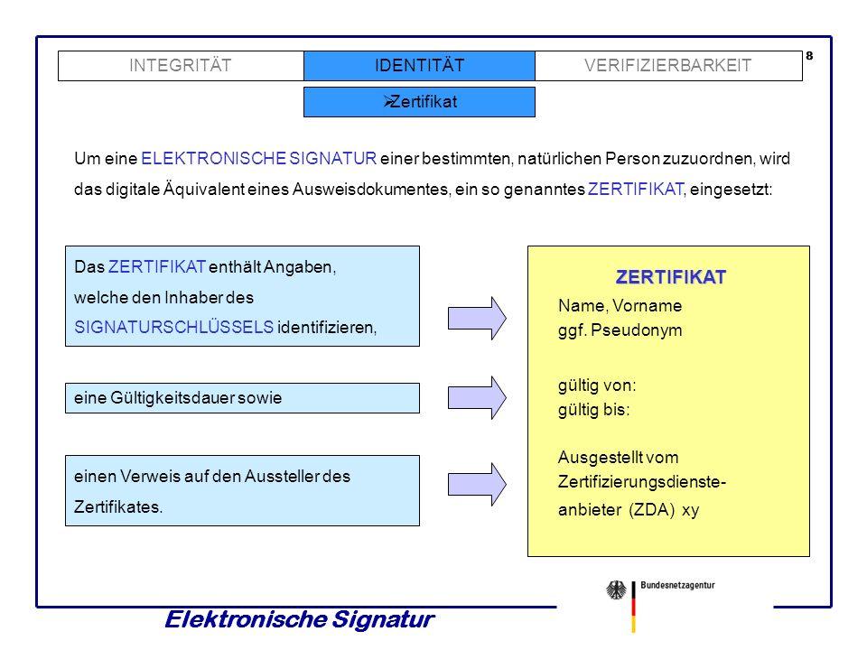 Elektronische Signatur INTEGRITÄTVERIFIZIERBARKEIT Zertifikat 8 Um eine ELEKTRONISCHE SIGNATUR einer bestimmten, natürlichen Person zuzuordnen, wird das digitale Äquivalent eines Ausweisdokumentes, ein so genanntes ZERTIFIKAT, eingesetzt: Das ZERTIFIKAT enthält Angaben, welche den Inhaber des SIGNATURSCHLÜSSELS identifizieren, eine Gültigkeitsdauer sowie einen Verweis auf den Aussteller des Zertifikates.