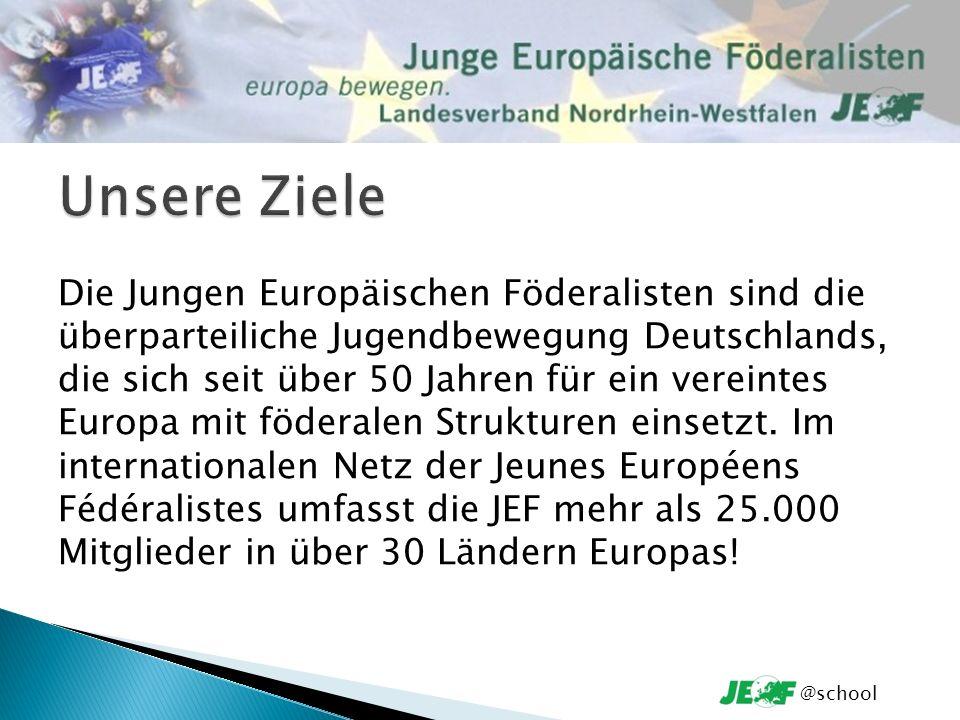 Die Jungen Europäischen Föderalisten sind die überparteiliche Jugendbewegung Deutschlands, die sich seit über 50 Jahren für ein vereintes Europa mit föderalen Strukturen einsetzt.
