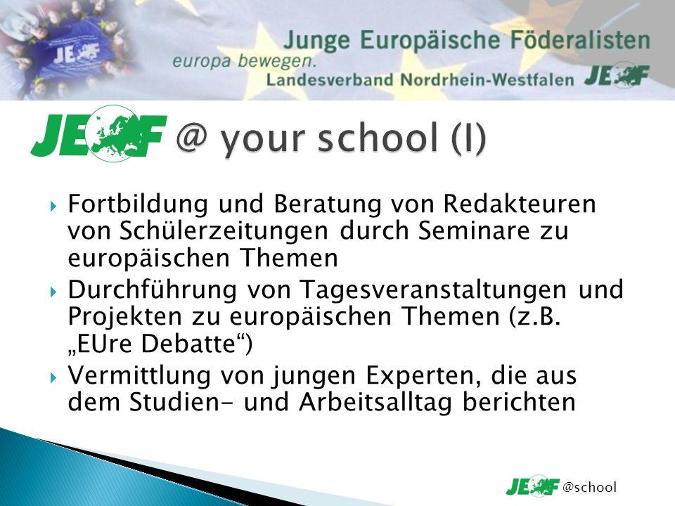 Kontakt zu anderen Partnerorganisationen Ausbildung von Multiplikatoren auf bestimmten europäischen Gebieten Organisation und Begleitung von Fahrten ins europäische Ausland Unterstützung bei der Ausgestaltung Ihrer Projektideen @school
