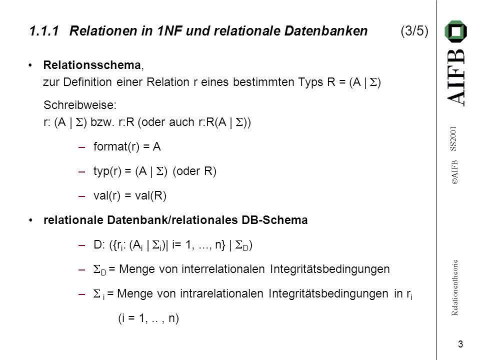 Relationentheorie AIFB SS2001 3 1.1.1Relationen in 1NF und relationale Datenbanken(3/5) Schreibweise: r: (A | ) bzw.
