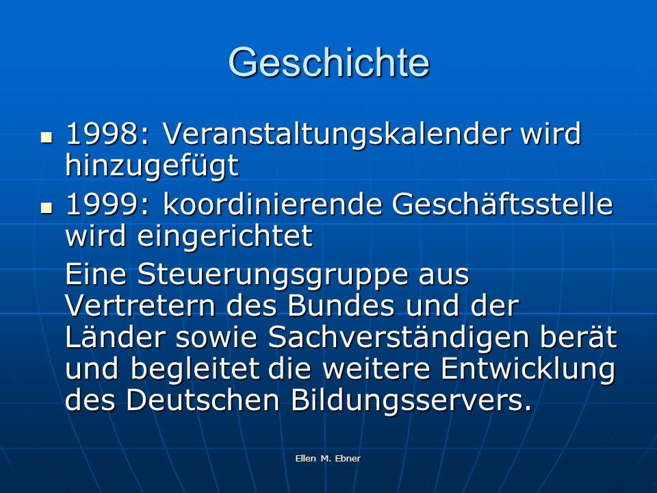 Ellen M. Ebner Geschichte 1998: Veranstaltungskalender wird hinzugefügt 1998: Veranstaltungskalender wird hinzugefügt 1999: koordinierende Geschäftsst