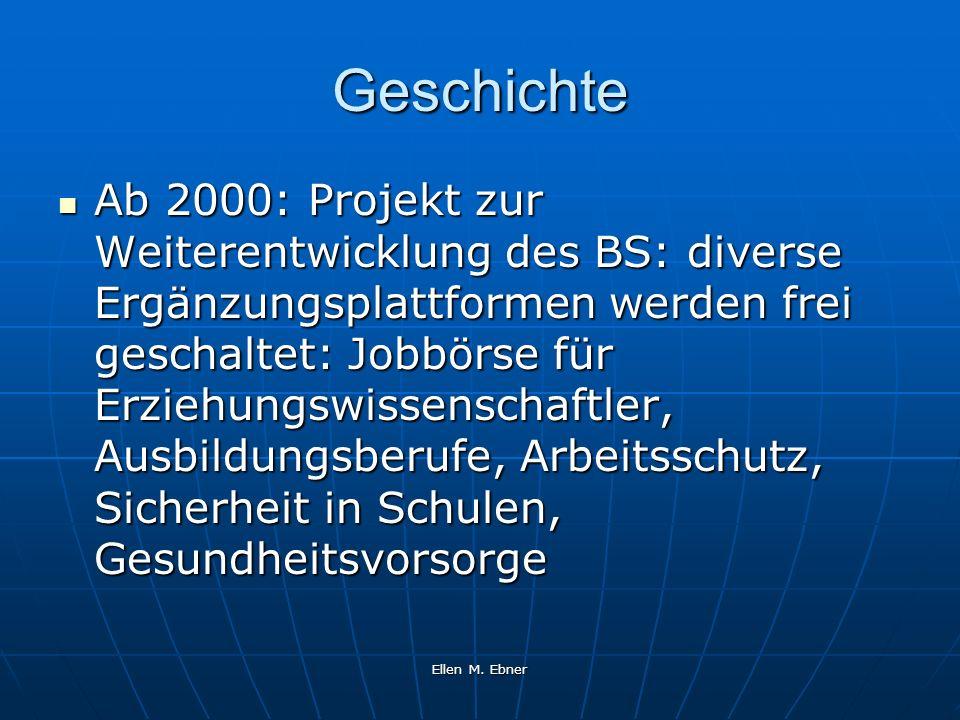 Ellen M. Ebner Geschichte Ab 2000: Projekt zur Weiterentwicklung des BS: diverse Ergänzungsplattformen werden frei geschaltet: Jobbörse für Erziehungs