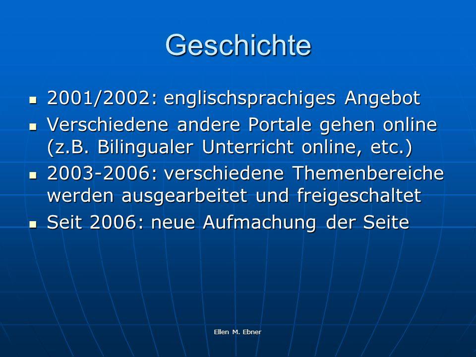 Ellen M. Ebner Geschichte 2001/2002: englischsprachiges Angebot 2001/2002: englischsprachiges Angebot Verschiedene andere Portale gehen online (z.B. B