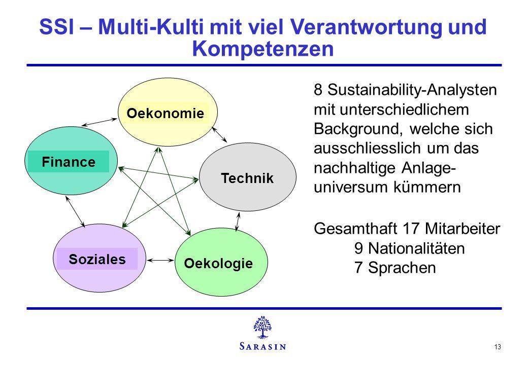 13 Finance Oekonomie Technik Oekologie Soziales 8 Sustainability-Analysten mit unterschiedlichem Background, welche sich ausschliesslich um das nachha