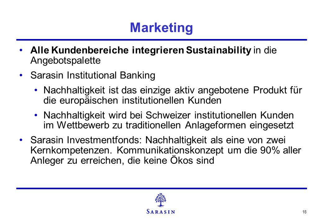 18 Marketing Alle Kundenbereiche integrieren Sustainability in die Angebotspalette Sarasin Institutional Banking Nachhaltigkeit ist das einzige aktiv
