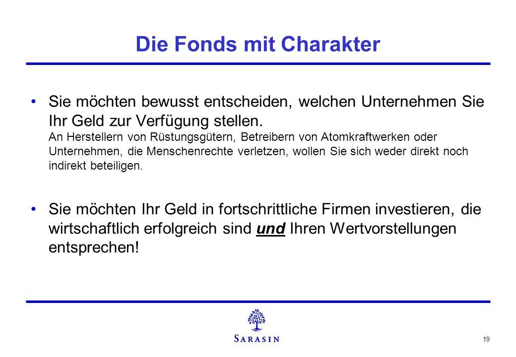19 Die Fonds mit Charakter Sie möchten bewusst entscheiden, welchen Unternehmen Sie Ihr Geld zur Verfügung stellen. An Herstellern von Rüstungsgütern,