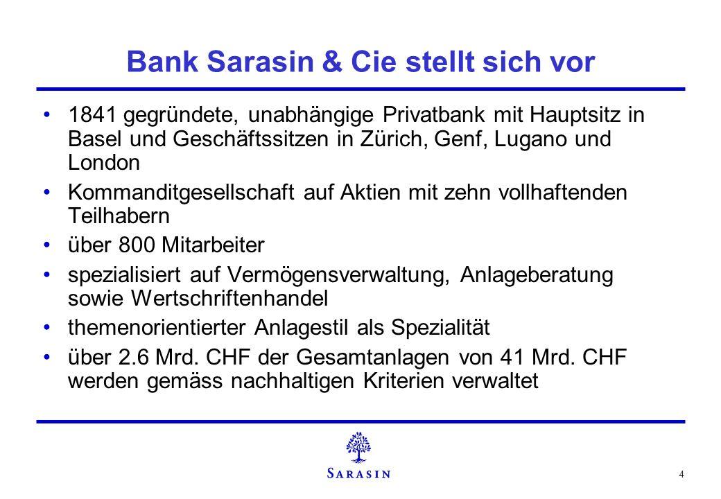 4 Bank Sarasin & Cie stellt sich vor 1841 gegründete, unabhängige Privatbank mit Hauptsitz in Basel und Geschäftssitzen in Zürich, Genf, Lugano und Lo