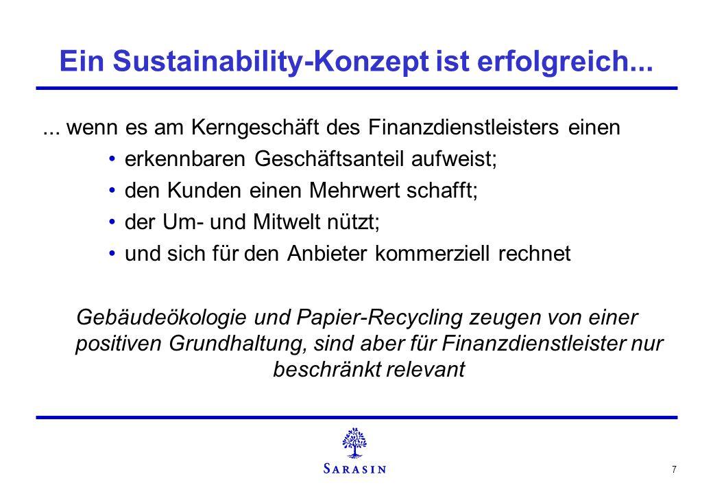 7 Ein Sustainability-Konzept ist erfolgreich...... wenn es am Kerngeschäft des Finanzdienstleisters einen erkennbaren Geschäftsanteil aufweist; den Ku