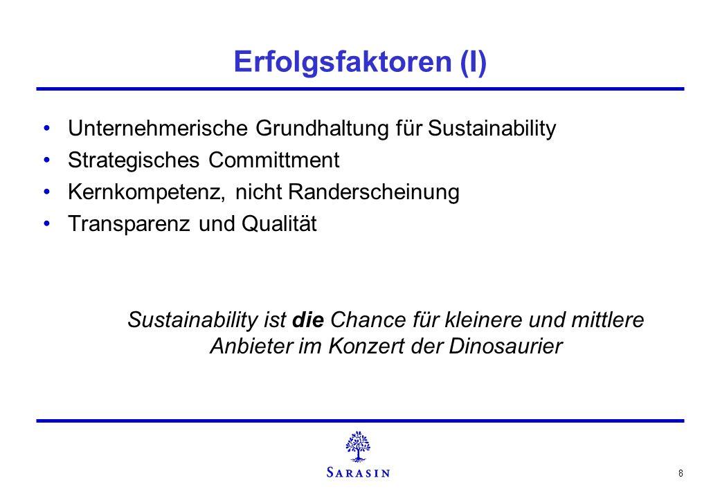 8 Erfolgsfaktoren (I) Unternehmerische Grundhaltung für Sustainability Strategisches Committment Kernkompetenz, nicht Randerscheinung Transparenz und