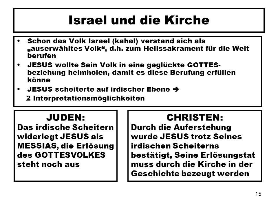 15 Israel und die Kirche Schon das Volk Israel (kahal) verstand sich als auserwähltes Volk, d.h. zum Heilssakrament für die Welt berufen JESUS wollte