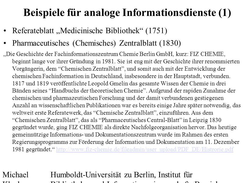 Michael Kluck Mai 2010 Humboldt-Universität zu Berlin, Institut für Bibliotheks- und Informationswissenschaft, Bereich Fernstudium 19