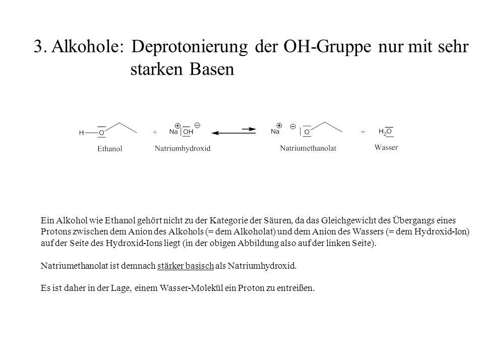 Ein Alkohol wie Ethanol gehört nicht zu der Kategorie der Säuren, da das Gleichgewicht des Übergangs eines Protons zwischen dem Anion des Alkohols (=