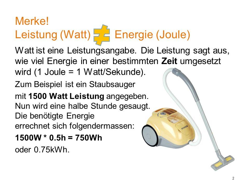 Watt ist eine Leistungsangabe.