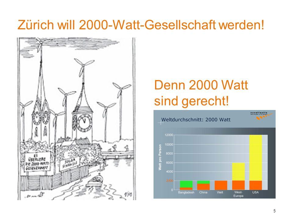 Zürich will 2000-Watt-Gesellschaft werden! 5 Denn 2000 Watt sind gerecht!