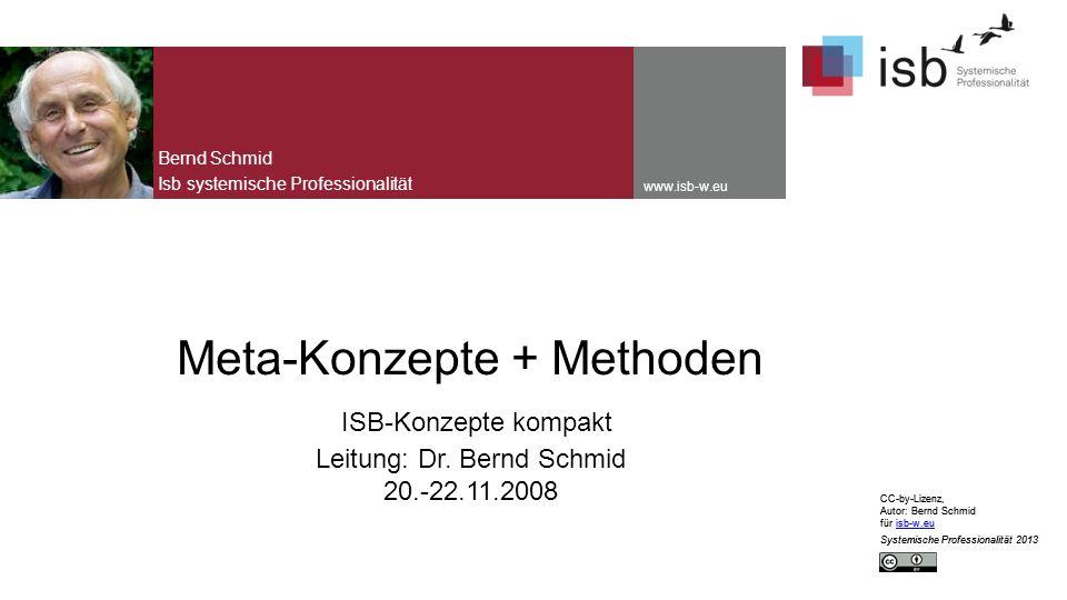 CC-by-Lizenz, Autor: Bernd Schmid für isb-w.euisb-w.eu Systemische Professionalität 2013 www.isb-w.eu Meta-Konzepte + Methoden ISB-Konzepte kompakt Leitung: Dr.