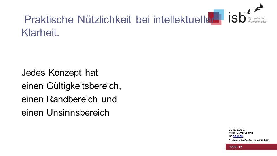 CC-by-Lizenz, Autor: Bernd Schmid für isb-w.euisb-w.eu Systemische Professionalität 2013 Seite 15 Praktische Nützlichkeit bei intellektueller Klarheit.