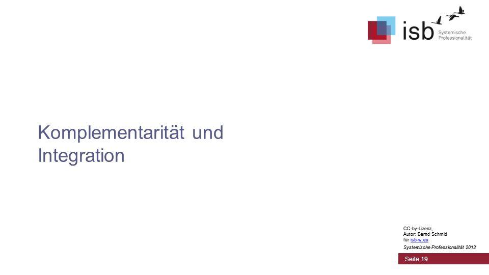 CC-by-Lizenz, Autor: Bernd Schmid für isb-w.euisb-w.eu Systemische Professionalität 2013 Seite 19 Komplementarität und Integration CC-by-Lizenz, Autor: Bernd Schmid für isb-w.euisb-w.eu Systemische Professionalität 2013