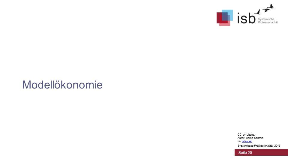 CC-by-Lizenz, Autor: Bernd Schmid für isb-w.euisb-w.eu Systemische Professionalität 2013 Seite 20 Modellökonomie CC-by-Lizenz, Autor: Bernd Schmid für isb-w.euisb-w.eu Systemische Professionalität 2013