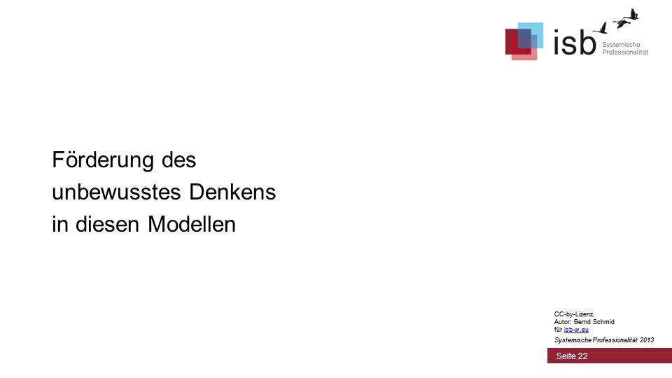CC-by-Lizenz, Autor: Bernd Schmid für isb-w.euisb-w.eu Systemische Professionalität 2013 Seite 22 Förderung des unbewusstes Denkens in diesen Modellen CC-by-Lizenz, Autor: Bernd Schmid für isb-w.euisb-w.eu Systemische Professionalität 2013