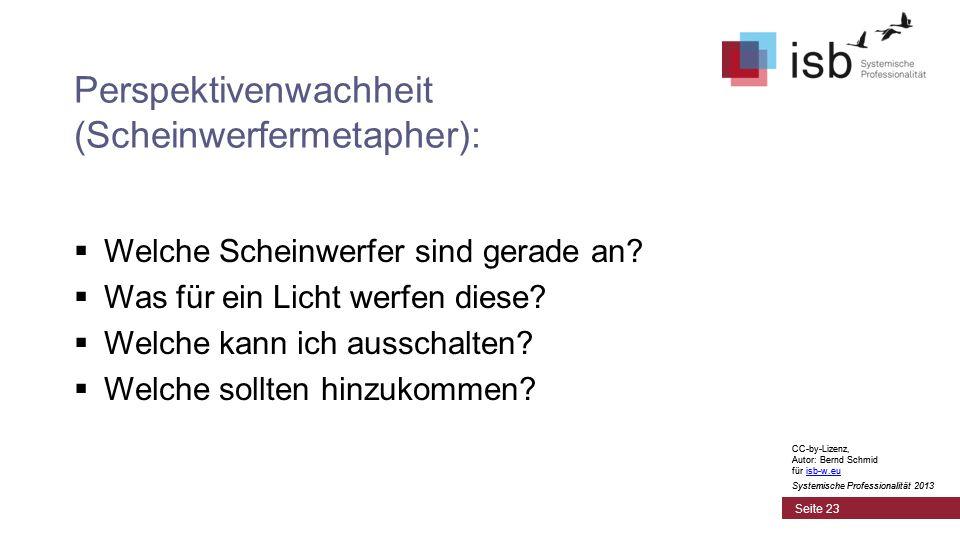 CC-by-Lizenz, Autor: Bernd Schmid für isb-w.euisb-w.eu Systemische Professionalität 2013 Seite 23 Perspektivenwachheit (Scheinwerfermetapher): Welche Scheinwerfer sind gerade an.
