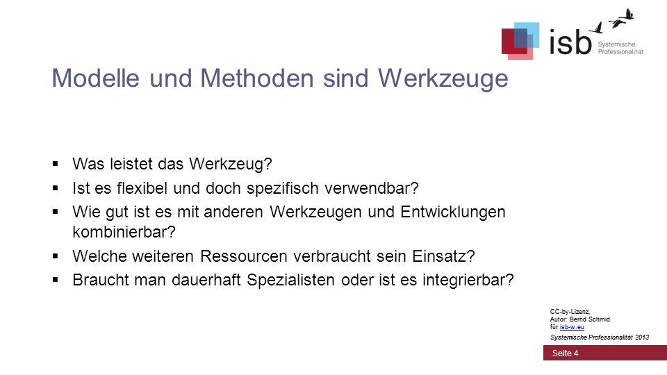 CC-by-Lizenz, Autor: Bernd Schmid für isb-w.euisb-w.eu Systemische Professionalität 2013 Seite 4 Modelle und Methoden sind Werkzeuge Was leistet das Werkzeug.
