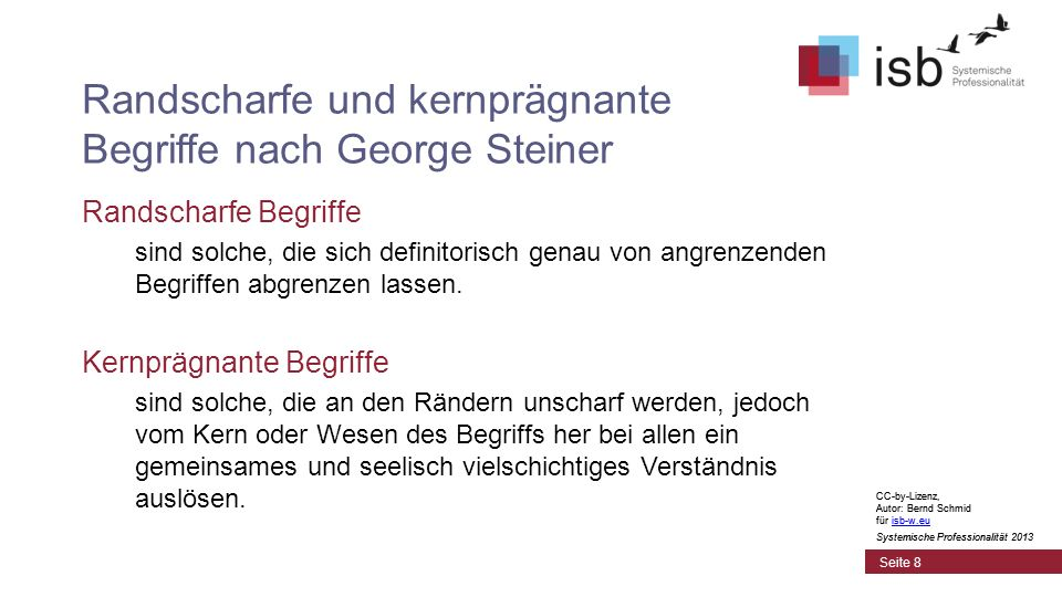 CC-by-Lizenz, Autor: Bernd Schmid für isb-w.euisb-w.eu Systemische Professionalität 2013 Seite 8 Randscharfe und kernprägnante Begriffe nach George Steiner Randscharfe Begriffe sind solche, die sich definitorisch genau von angrenzenden Begriffen abgrenzen lassen.