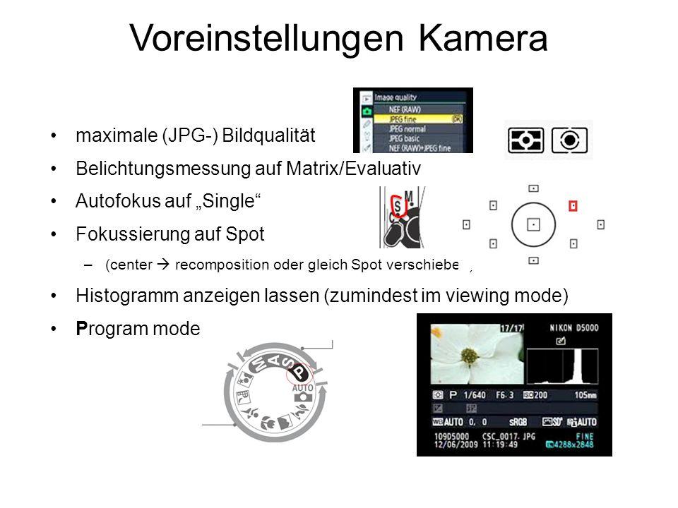 maximale (JPG-) Bildqualität Belichtungsmessung auf Matrix/Evaluativ Autofokus auf Single Fokussierung auf Spot –(center recomposition oder gleich Spo
