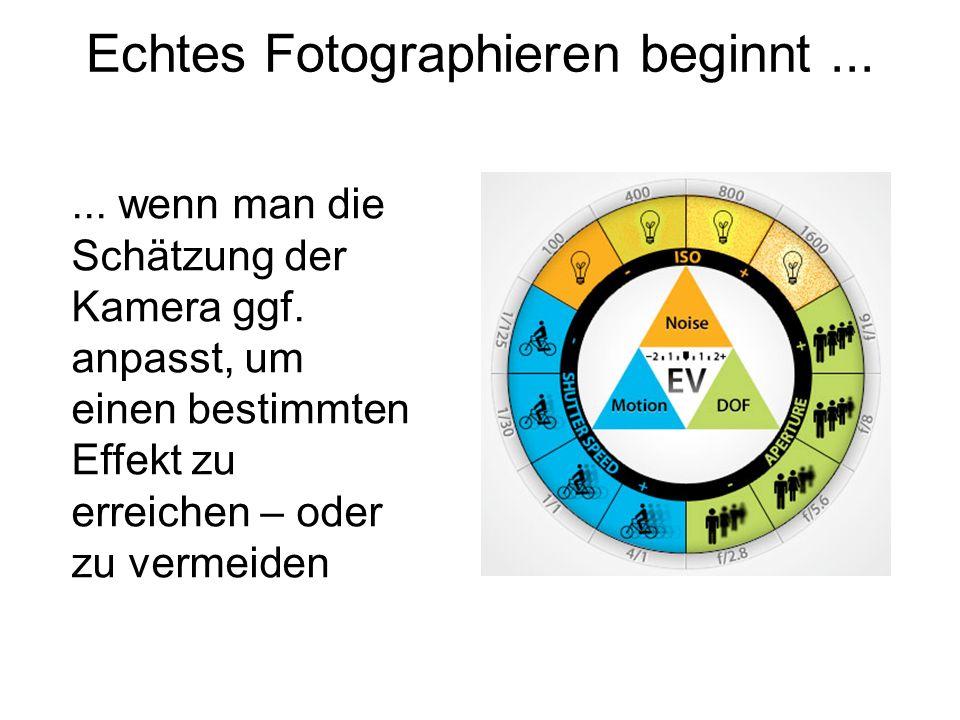 Echtes Fotographieren beginnt...... wenn man die Schätzung der Kamera ggf. anpasst, um einen bestimmten Effekt zu erreichen – oder zu vermeiden
