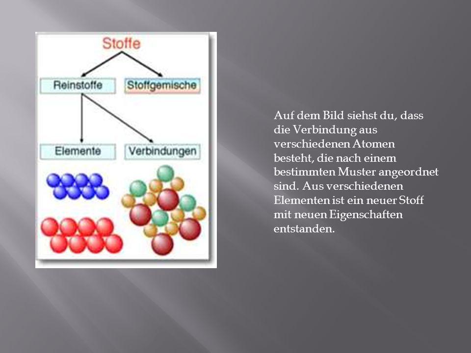 Auf dem Bild siehst du, dass die Verbindung aus verschiedenen Atomen besteht, die nach einem bestimmten Muster angeordnet sind. Aus verschiedenen Elem