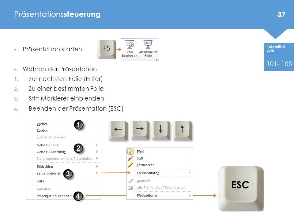 Lehrmittel Seite: Präsentation starten Währen der Präsentation 1.