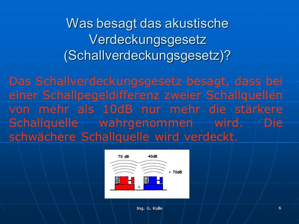 Ing. G. Kulle 6 Was besagt das akustische Verdeckungsgesetz (Schallverdeckungsgesetz)? Das Schallverdeckungsgesetz besagt, dass bei einer Schallpegeld