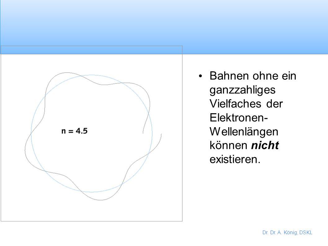 Dr. Dr. A. König, DSKL Entwickelte BOHRS Ideen weiter. Erlaubte Bahnen haben ein ganzzahliges Verhältnis zur Elektronwellenlänge. Es können stehende W