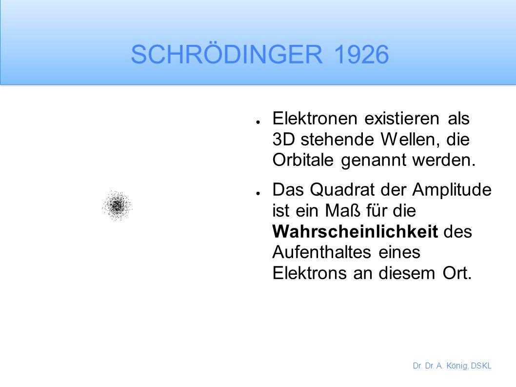 Dr. Dr. A. König, DSKL Bahnen ohne ein ganzzahliges Vielfaches der Elektronen- Wellenlängen können nicht existieren.