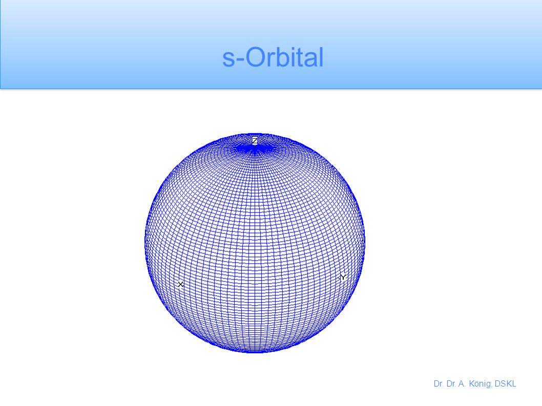 Dr. Dr. A. König, DSKL Es gibt nur 1 s-Orbital in jede Schale Es gibt 3 p-Orbitale in jeder Schale, die im rechten Winkel zueinander angeordnet sind.