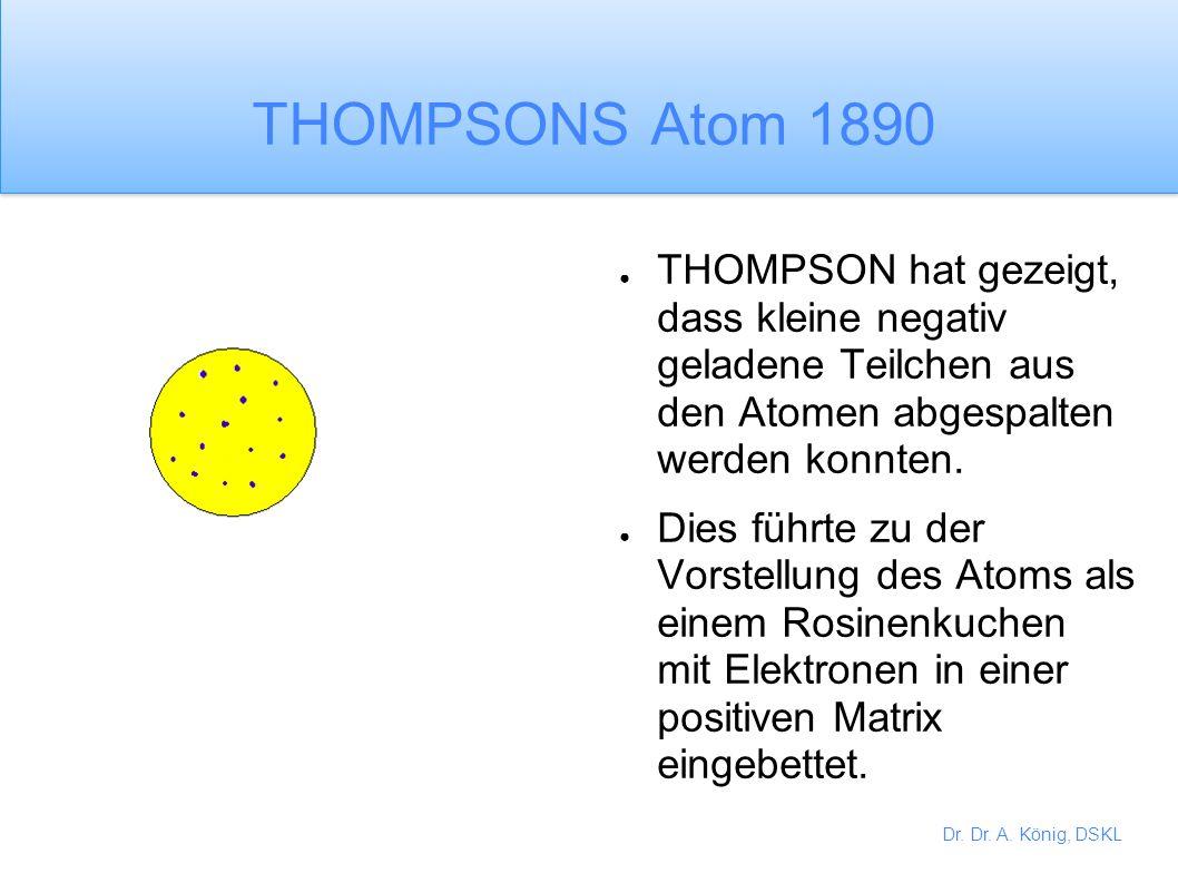 Dr. Dr. A. König, DSKL 19. Jahrhundert Chemiker des 19. Jahrhunderts entwickelten DALTONS Ideen weiter. Die Atome sollten in drei Dimensionen verbunde