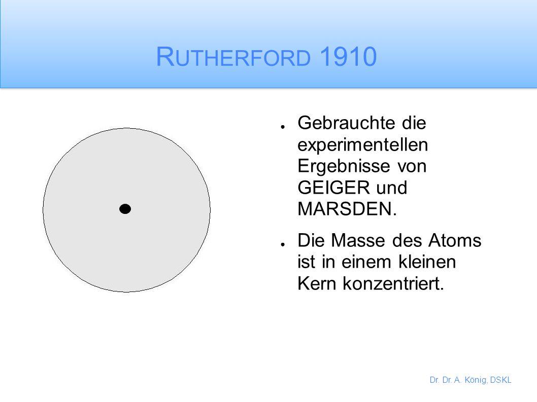 Dr. Dr. A. König, DSKL THOMPSONS Atom 1890 THOMPSON hat gezeigt, dass kleine negativ geladene Teilchen aus den Atomen abgespalten werden konnten. Dies