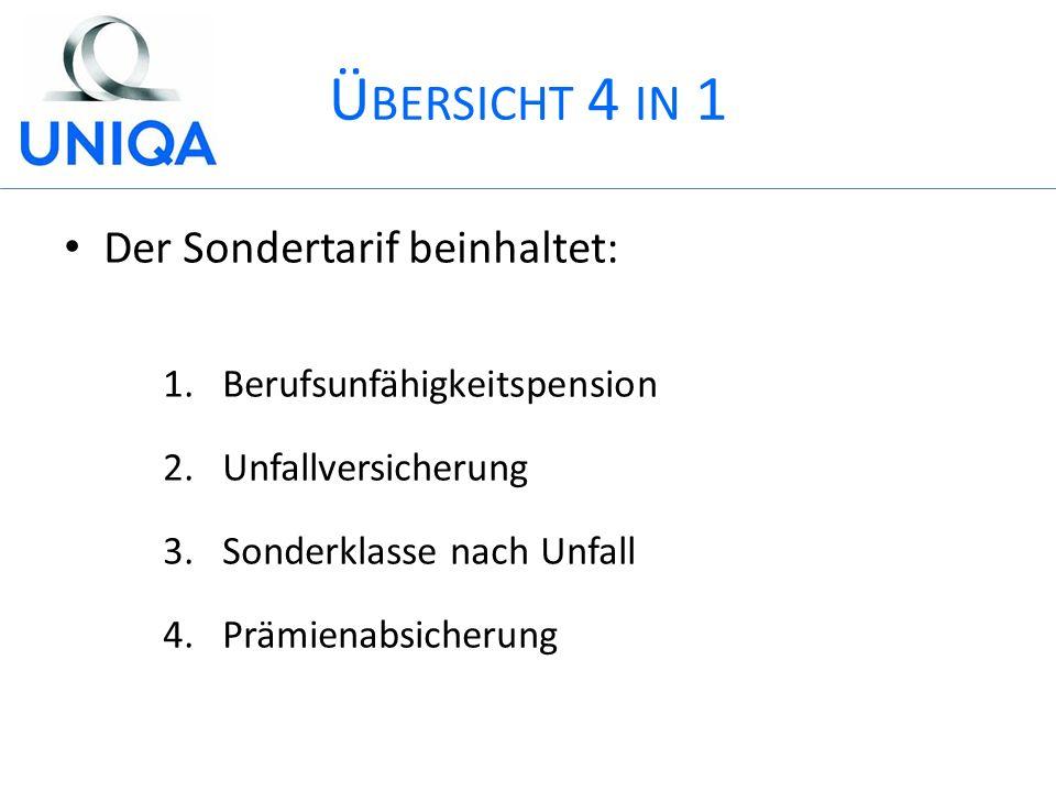 Ü BERSICHT 4 IN 1 Der Sondertarif beinhaltet: 1.Berufsunfähigkeitspension 2.Unfallversicherung 3.Sonderklasse nach Unfall 4.Prämienabsicherung
