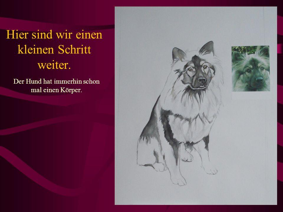 Zurück zum Gesicht – der Hund bekommt seine zweite Schicht Farbe und die Schnauze wurde korrigiert.