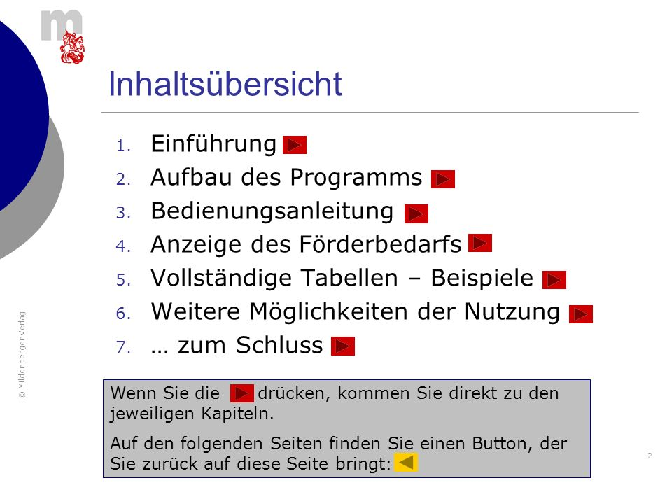 © Mildenberger Verlag 53 Wenn Sie … drücken, kommen Sie direkt zu den jeweiligen Unterkapiteln.