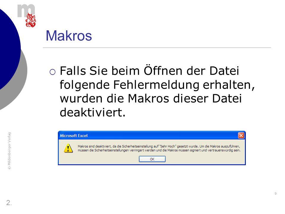 © Mildenberger Verlag 10 Makros Um alle Funktionen richtig nutzen zu können, müssen die Makros aktiviert werden.